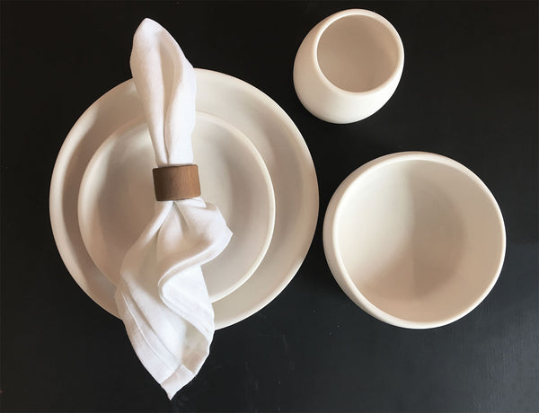 Matte Porcelain USA Made Coupe Dinnerware Set - Hammers and Heels  - 6