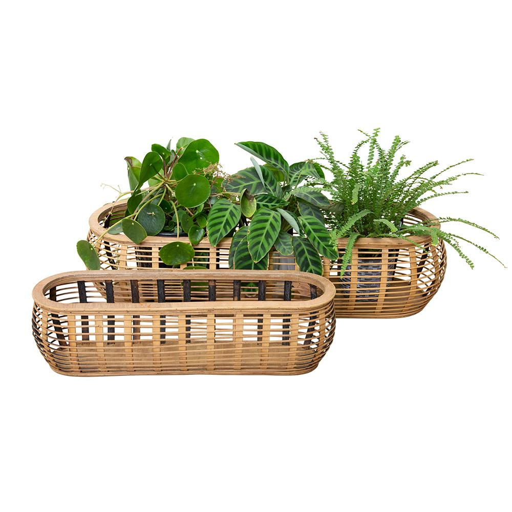 Mae Bamboo Set of 2 Planters Natural