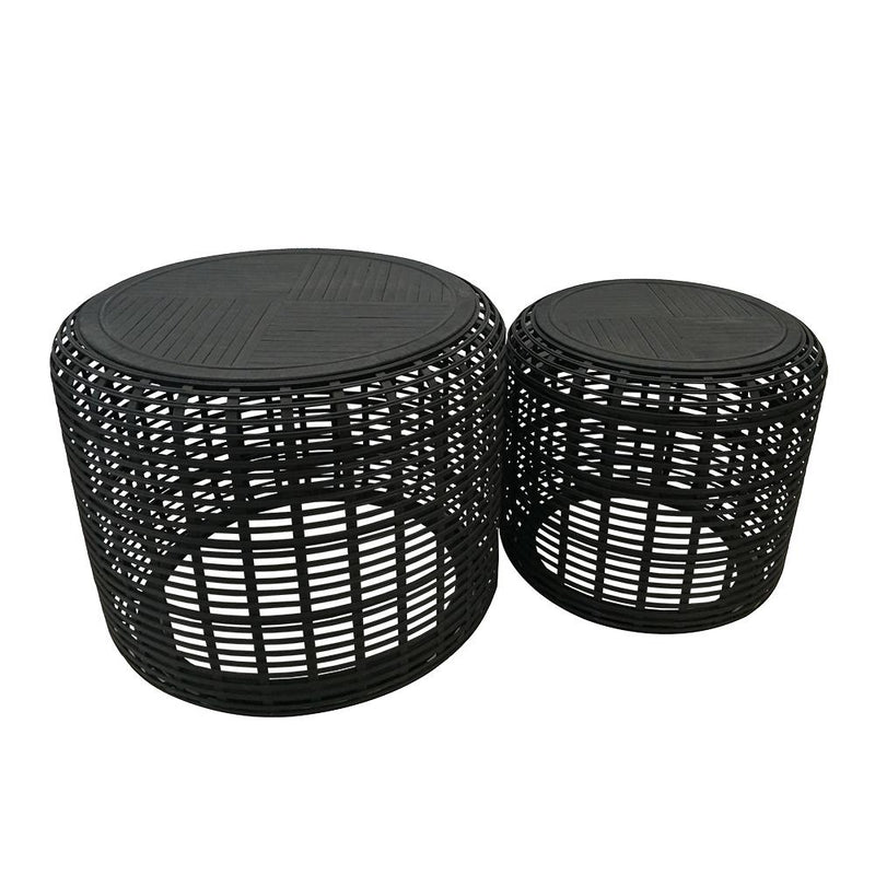 Brysen Bamboo Set of 2 Tables Black