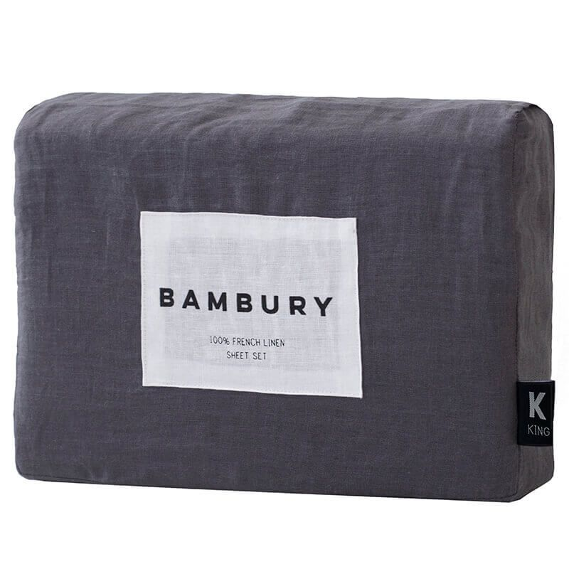 French Linen Sheet Set, Charcoal