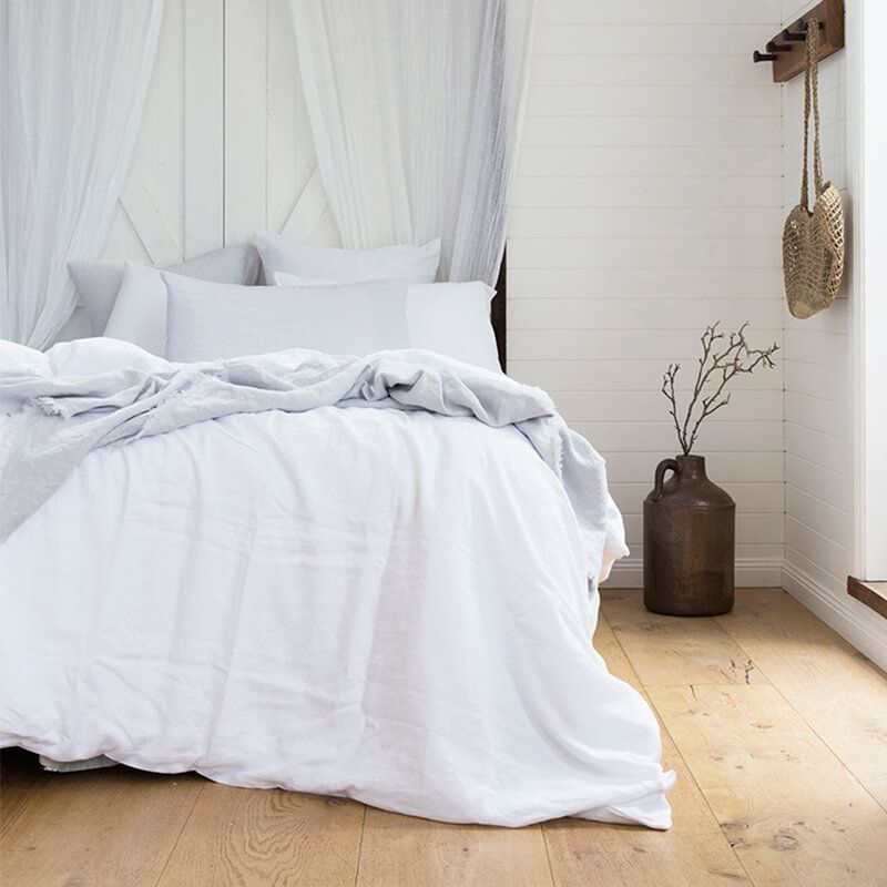 French Linen Quilt Cover Set, Ivory