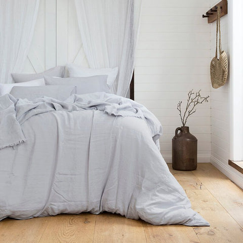 French Linen Quilt Cover Set, Silver