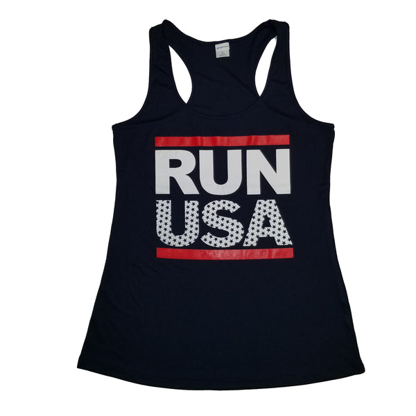 RUN USA Women's Cotton Blend or Dry Fit Tank Tops