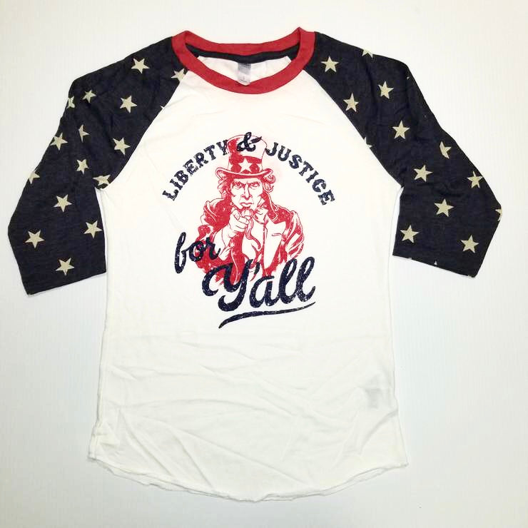 Liberty and Justice for Y'all Baseball Shirt