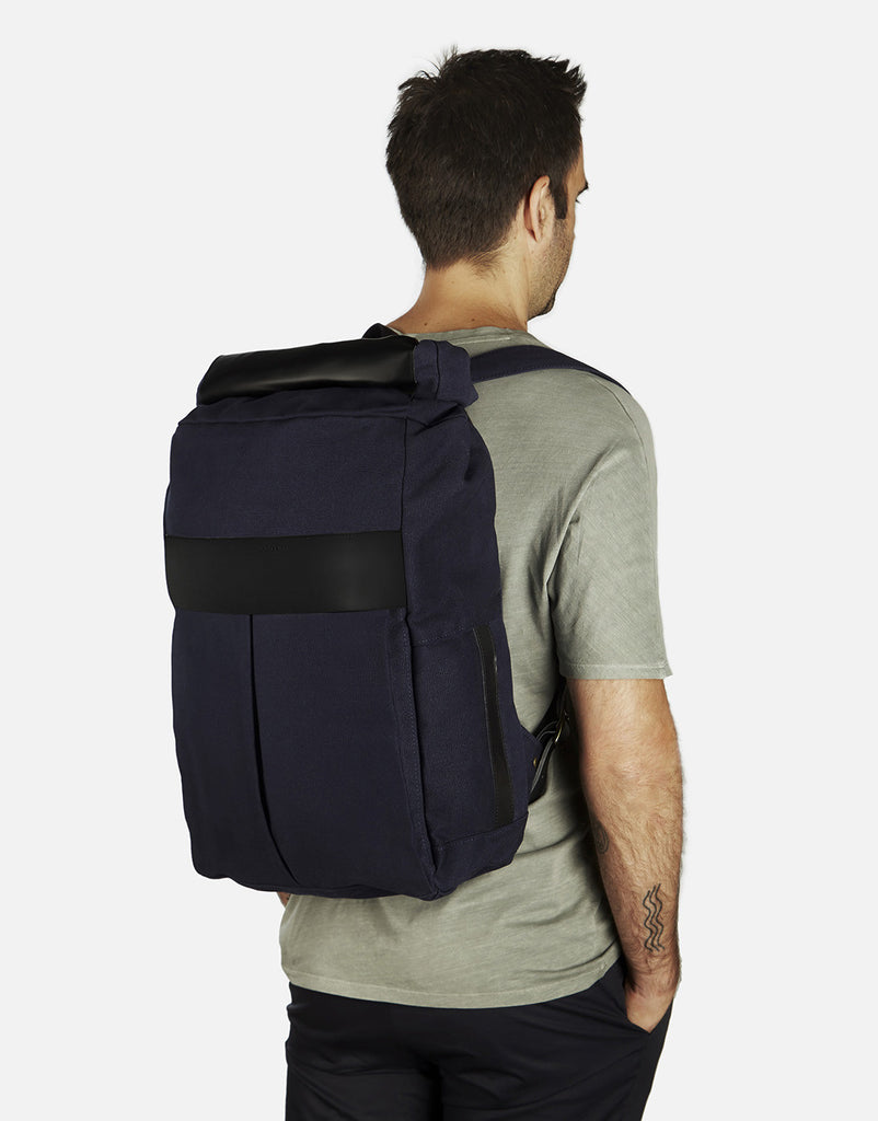 No. 7 - Roll Top Backpack, Black and Sage