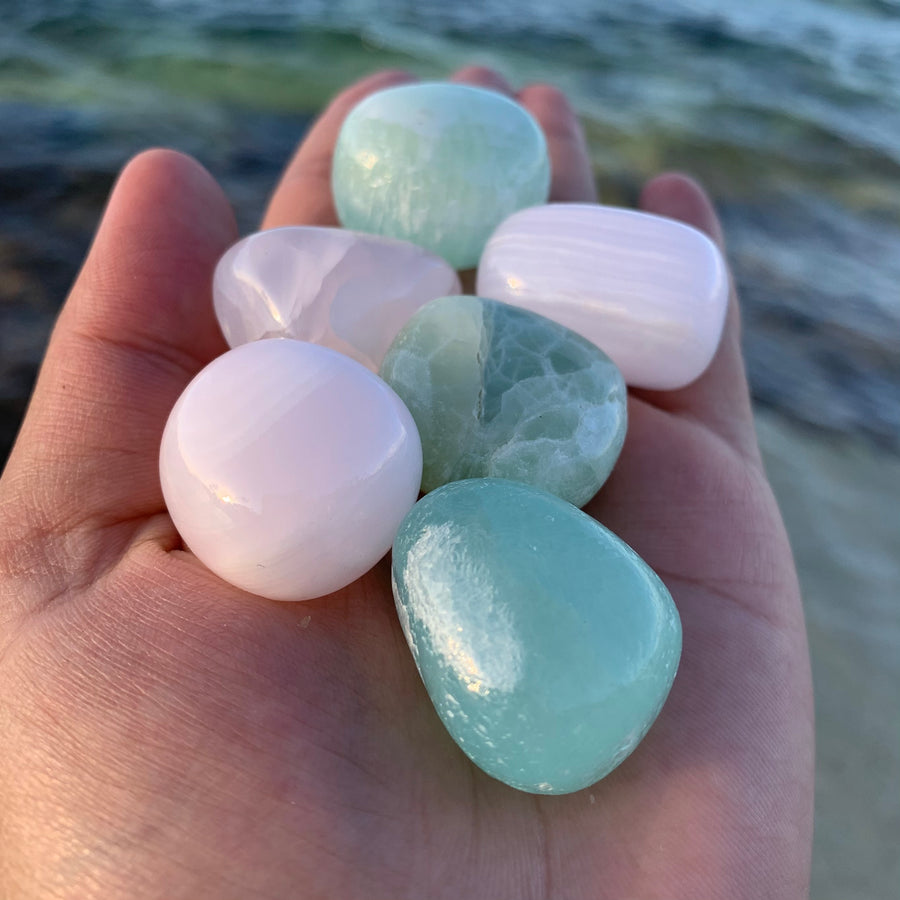 1x Rose (Pink) or Green Calcite, Tumbled