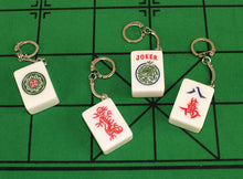 Load image into Gallery viewer, Acrylic Real Mahjong Tile Keychains White Elephant Gift Mahjong Joker, Red Dragon, Flower, Character Eight 4 Pack