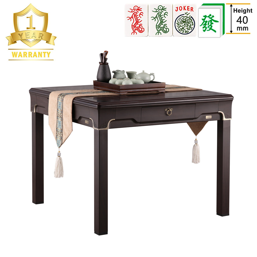 TRYHO 宣和电动麻将桌 Thin Black Walnut Style 清韵 4-Legged Automatic Mahjong Table with 40mm Numbered/No Numbered Tiles (Green+Blue) Hard Tabletop Cover Chinese/Filipino/American Tiles All Fit Ming Dynasty Style 明式风格中国风