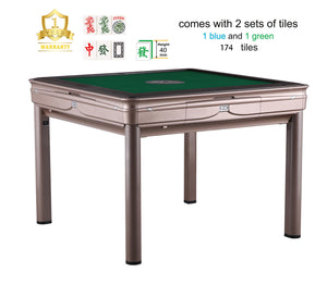 TRYHO 宣和电动麻将桌 Simple Style (Champagne/Blue) 4-Legged Automatic Mahjong Table Tiles (Green+Blue) Hard Tabletop Cover Chinese/Filipino/American Style All Fit No More Shuffling,More Rounds