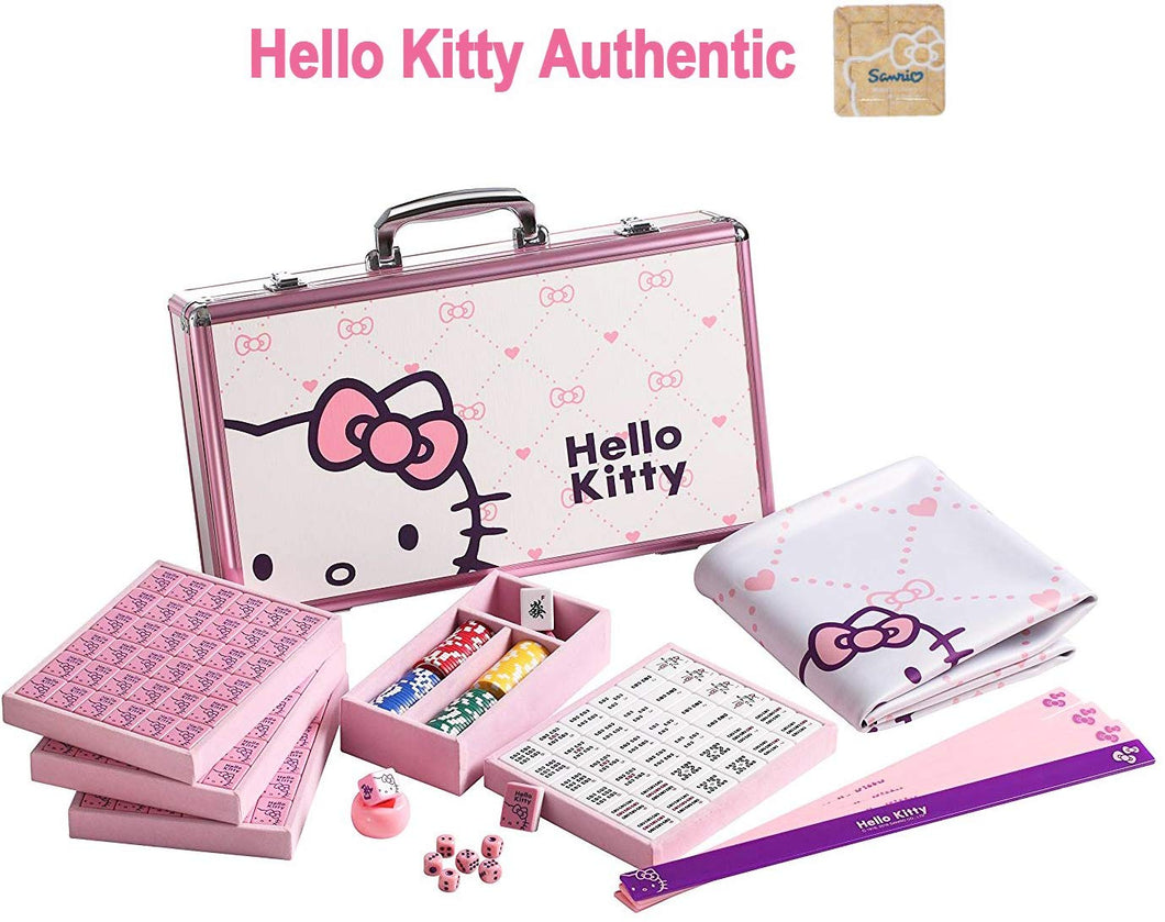 ハローキティ Hello Kitty Sanrio 144 Tiles Playing Mat 4 Pushers Pink Aluminum Complete Chinese Mahjong Set