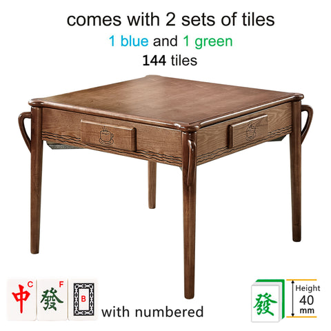 144Tiles Luxury Solid Ash Wood Automatic Mahjong Table ❘ 4 Legs Dining Table - Chinese/Philippine Style