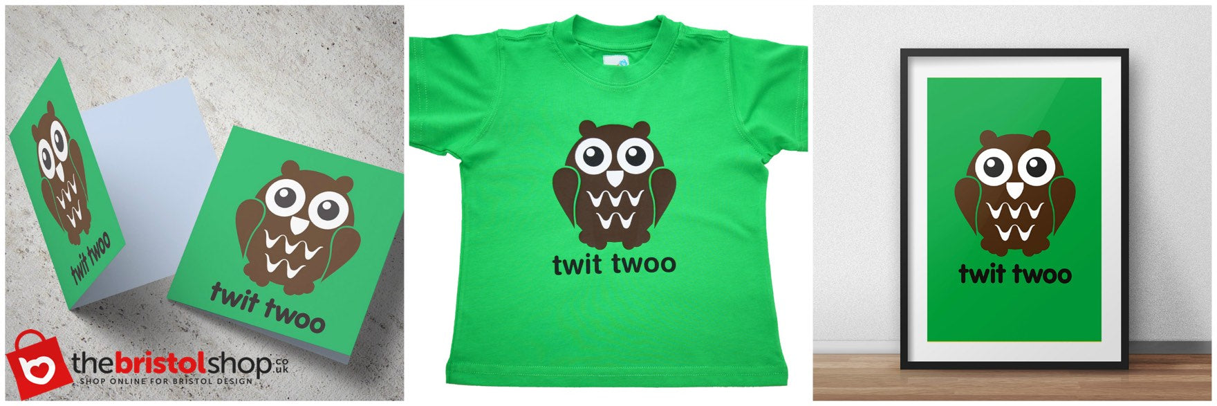 Twit Too Owl Greetings Card, Kids T-Shirt & Print by Milk & Cereal | The Bristol Shop