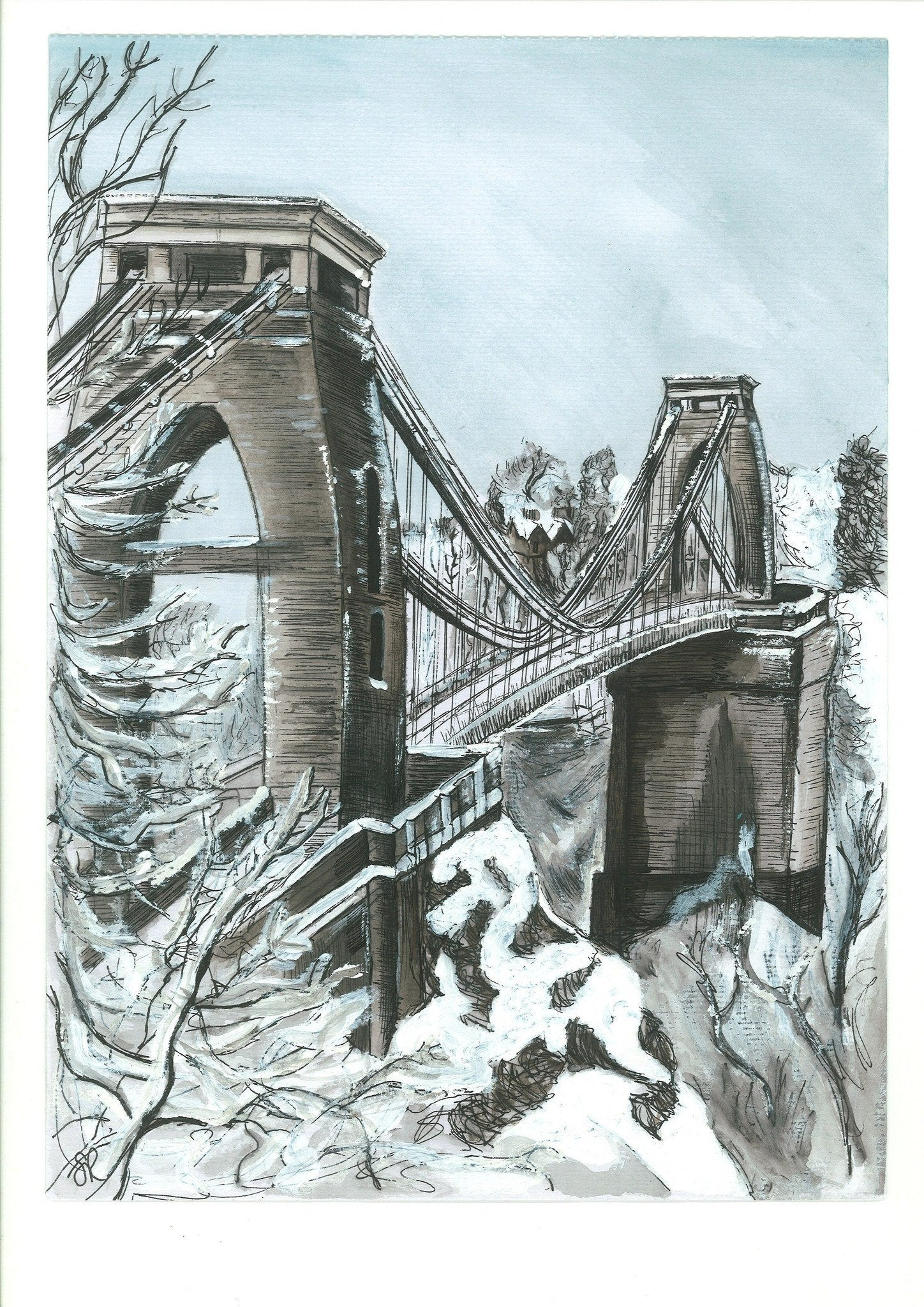 Clifton Suspension Bridge Winter Greetings Card by Susie Ramsay