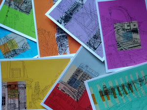Set of 8 Bristol Landmark Postcards by Lisa Malyon