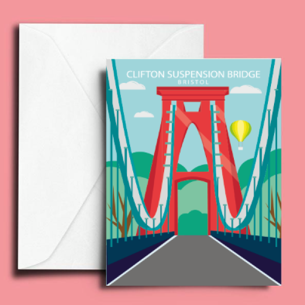 A6 Clifton Suspension Bridge Greetings Card by Adriana Barrios | The Bristol Shop