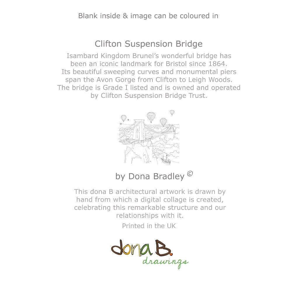 Back - Clifton Suspension Bridge 'Colour Me In' Greetings Card by dona B drawings | The Bristol Shop