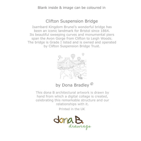 Clifton Suspension Bridge 'Colour Me In' Greetings Card by dona B drawings