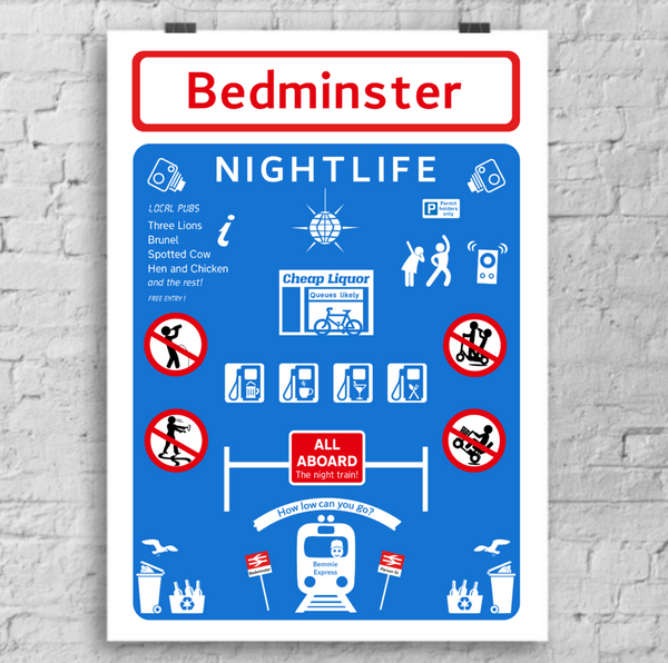 'Bedminster Nightlife' road sign art print - A4 or A3 Art Print by Lou Boyce