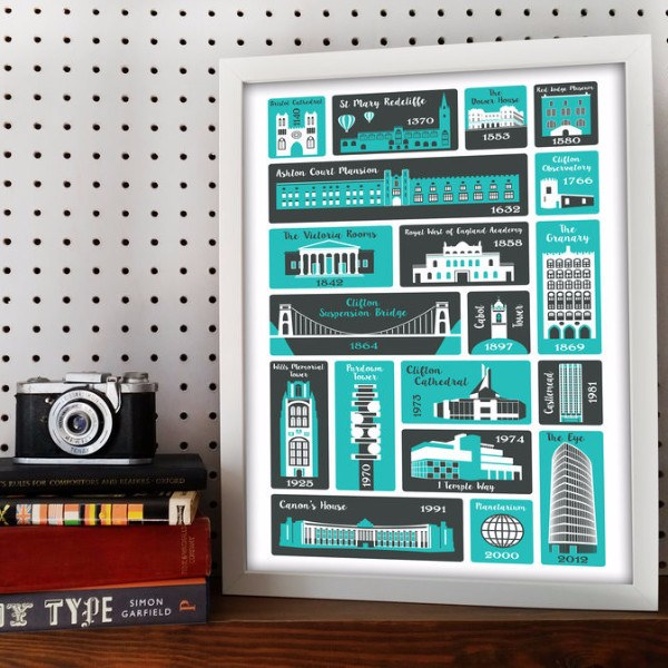 Bristol Places Typographic Print by Susan Taylor Art