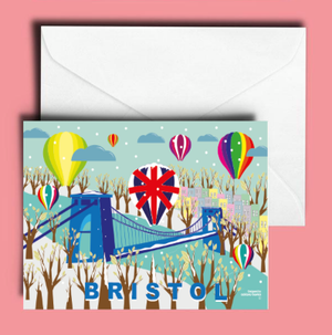A6 Bristol Balloons at Christmas Greetings Card by Adriana Barrios | The Bristol Shop