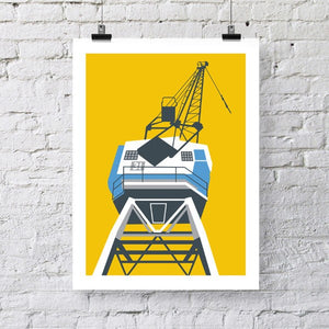 Bristol Docks Yellow Crane Architectural Art Print by Susan Taylor Art at The Bristol Shop
