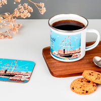 Floating Bristol Enamel Mug by Dona B drawings