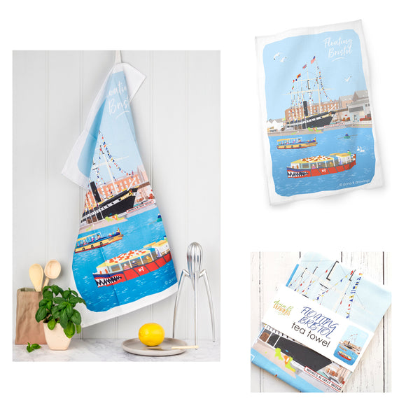 Floating Bristol Tea Towel by Dona B drawings