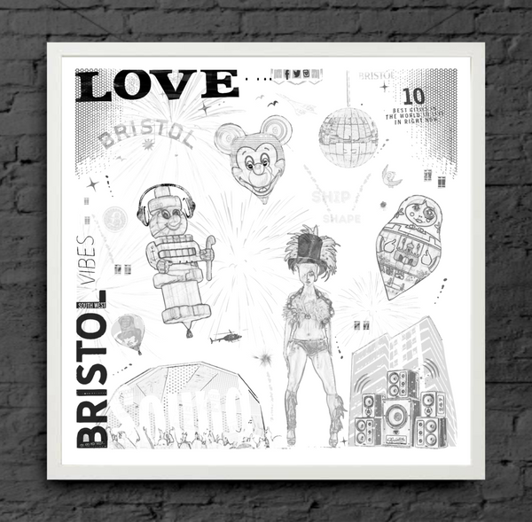 Bristol Love - 50cm x 50cm Limited Edition Art Print by Lou Boyce