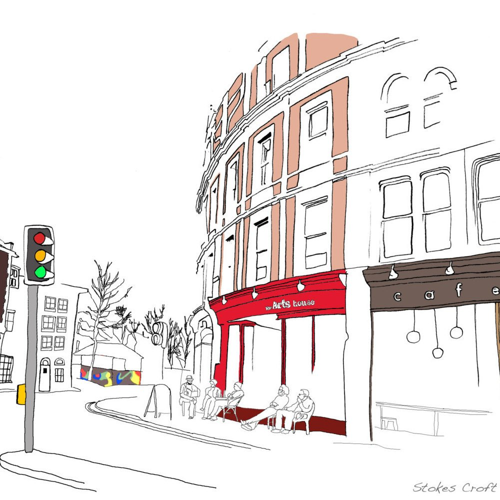 Bristol Stokes Croft Digital Art Print by Rolfe & Wills at The Bristol Shop