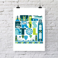 City of Bristol Typographic Print by Susan Taylor Art at The Bristol Shop