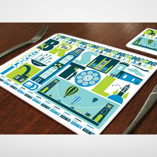 City of Bristol Typographic Placemat by Susan Taylor Art at The Bristol Shop