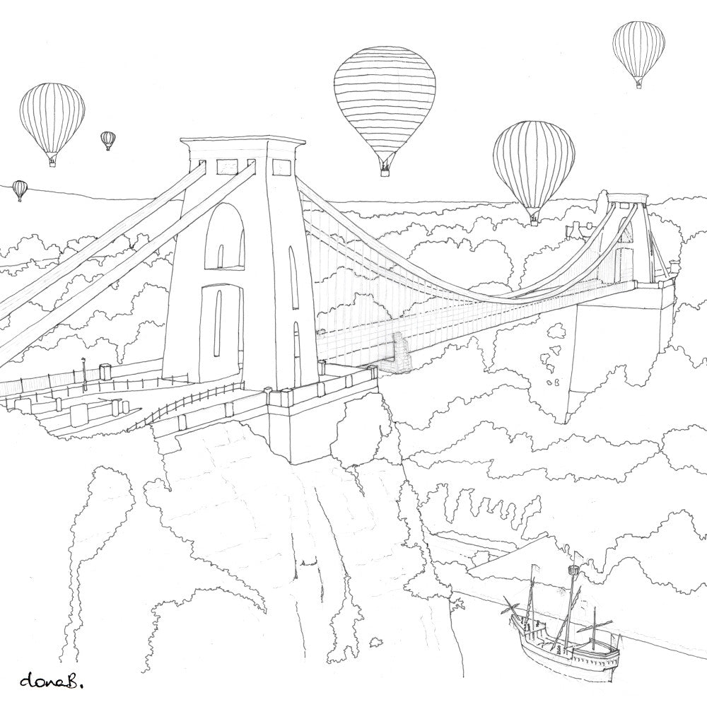 Front - Clifton Suspension Bridge 'Colour Me In' Greetings Card by dona B drawings | The Bristol Shop