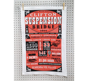 Clifton Suspension Bridge Facts Tea Towel by Susan Taylor Art | The Bristol Shop