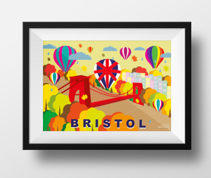 Clifton Suspension Bridge and Balloons in Autumn A4 or A3 Poster by Adriana Barrios | The Bristol Shop