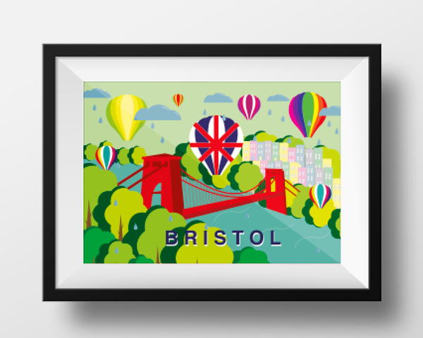 Clifton Suspension Bridge and Balloons in Summer A4 or A3 Poster by Adriana Barrios | The Bristol Shop