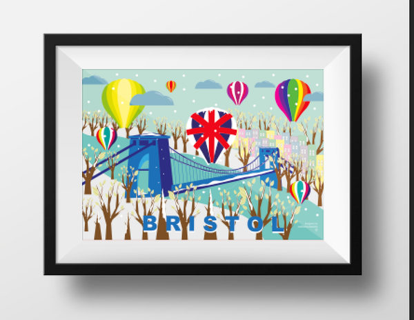 Clifton Suspension Bridge and Balloons in Winter A4 or A3 Poster by Adriana Barrios | The Bristol Shop