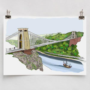 Clifton Suspension Bridge & the Matthew A4 Art Print by Rolfe & Wills | The Bristol Shop