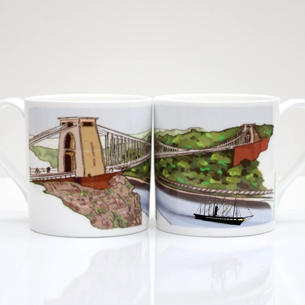 Clifton Suspension Bridge & The ss Great Britain Bone China Mug by Rolfe & Wills
