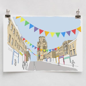 Colourful Park Street A4 Art Print by Rolfe & Wills | The Bristol Shop