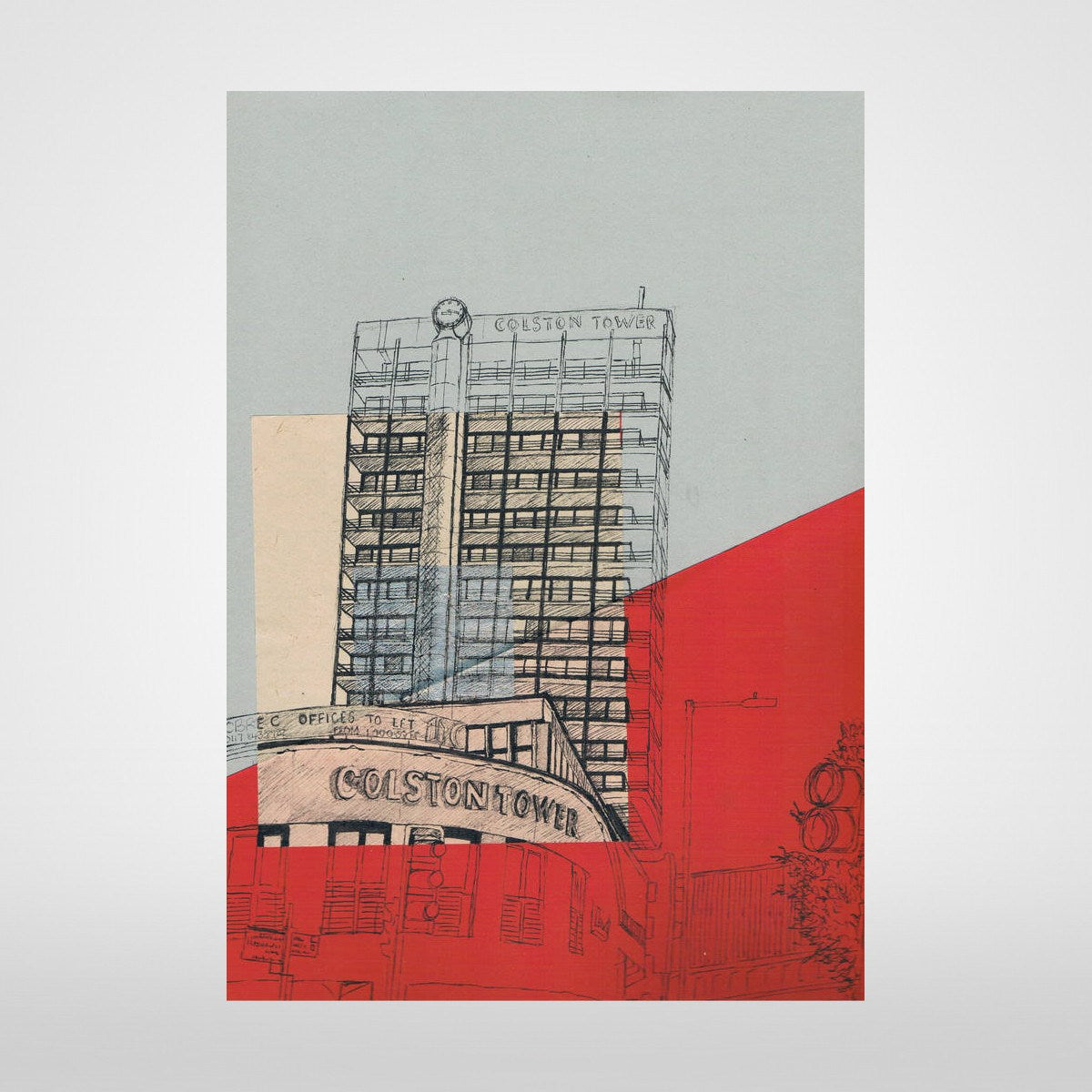 Tower on Grey/Red (formerly Colston) Print by Lisa Malyon at The Bristol Shop