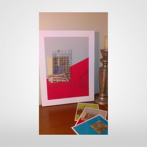 Colston Tower on Grey/Red Print by Lisa Malyon