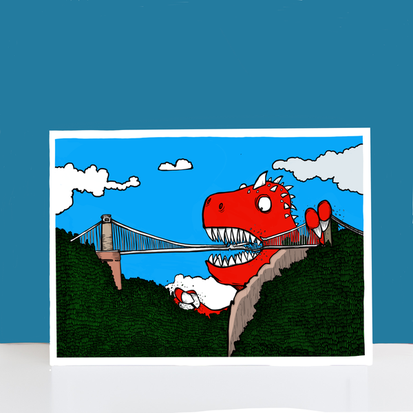 Dinosaur Vs Bridge A4-A3 Print by Dixon Does Doodles