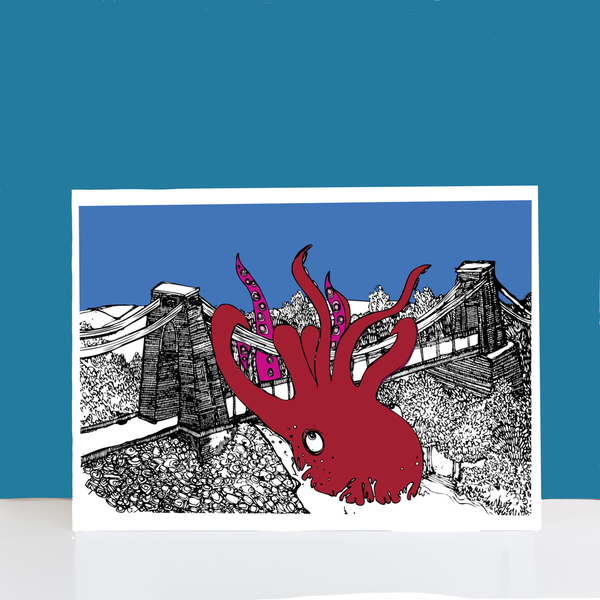Octopus Vs Clifton Suspension Bridge A4-A3 Print by Dixon Does Doodles