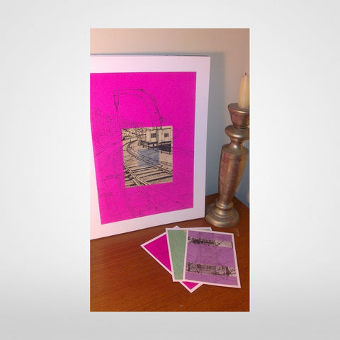 Fairbairn Steam Crane Print on Fuchsia by Lisa Malyon