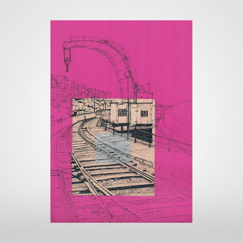 Fairbairn Steam Crane Print on Fuchsia by Lisa Malyon at The Bristol Shop