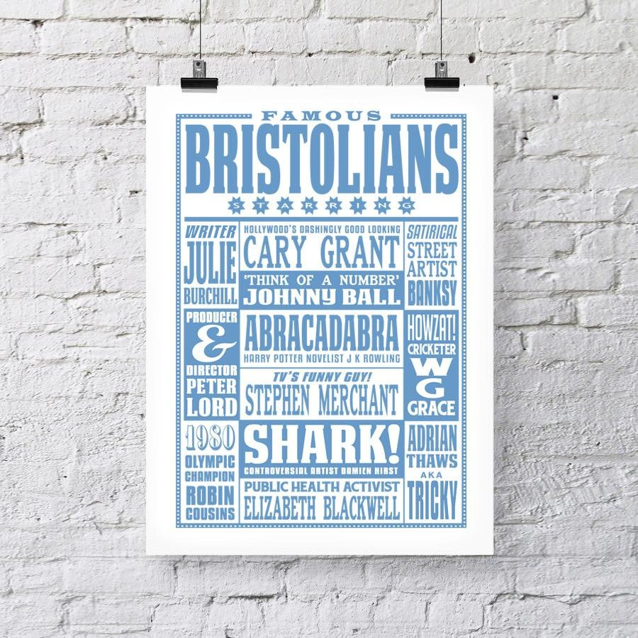 Famous Bristolians A3 Typographic Art Print by Susan Taylor Art | The Bristol Shop