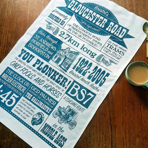Gloucester Road Bristol Tea Towel by Susan Taylor Art | The Bristol Shop