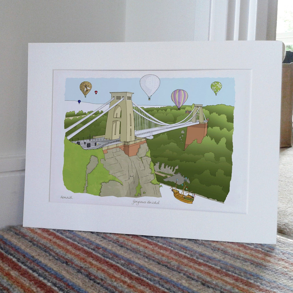 Gorgeous Bristol - Mounted – An Architectural Illustration Print by Dona B Drawings