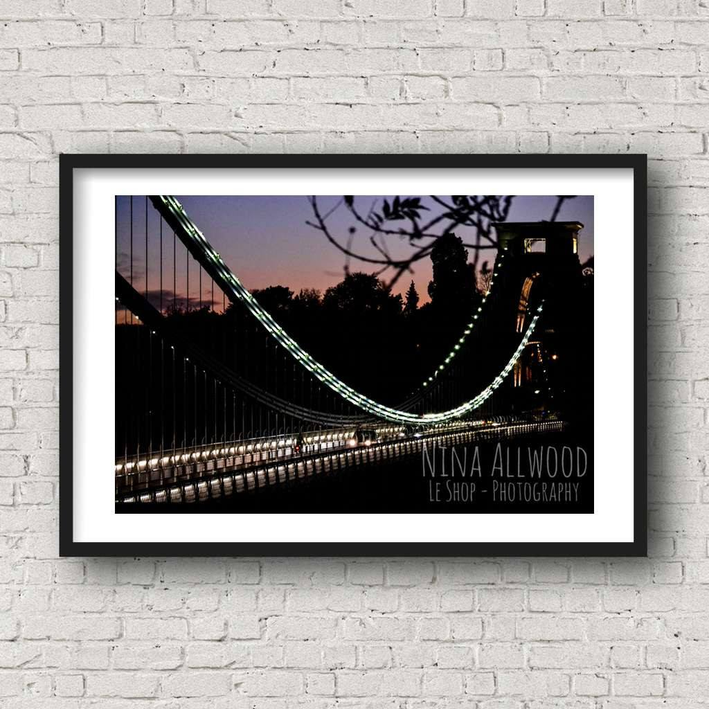 Night Lights, Clifton Suspension Bridge - Photographic Print by Nina Allwood | The Bristol Shop