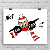 'No 1 City Fan' - A3 Art Print by Lou Boyce